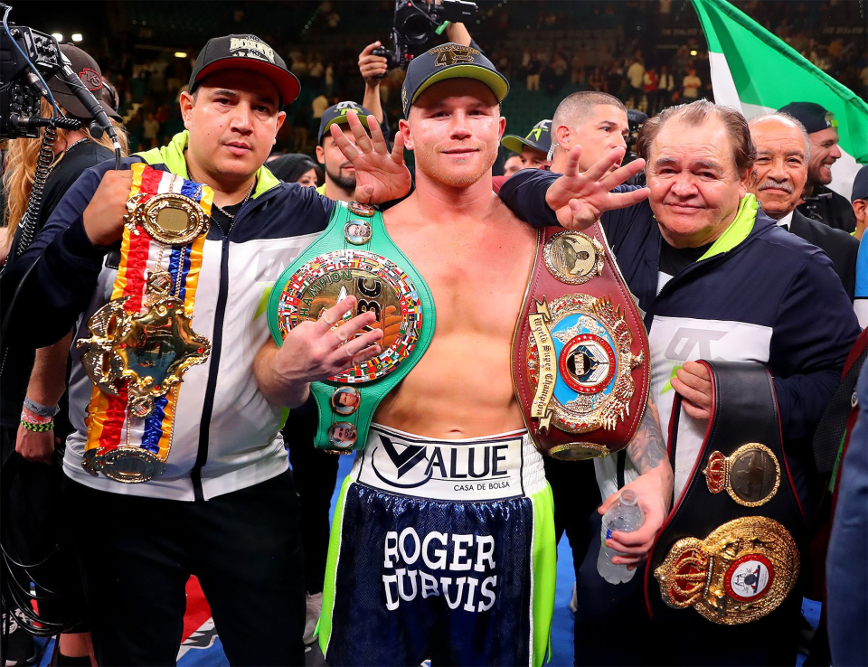 Canelo is now trained by Eddy Reynoso (left), but started out also being guided by his father Chepo (right)