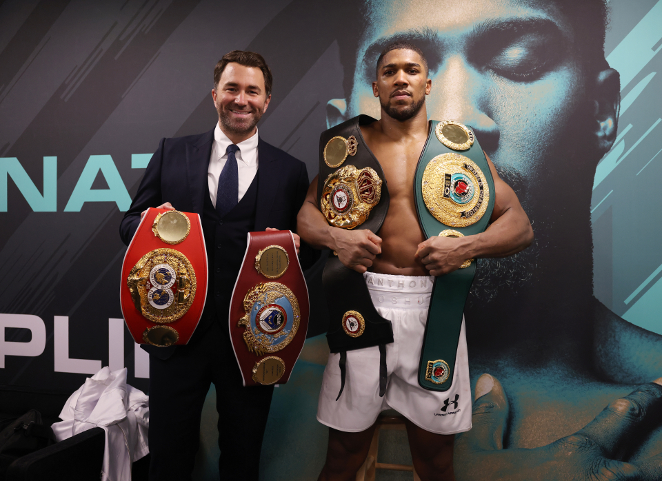Hearn promotes Joshua, who holds the WBA, IBF and WBO world titles