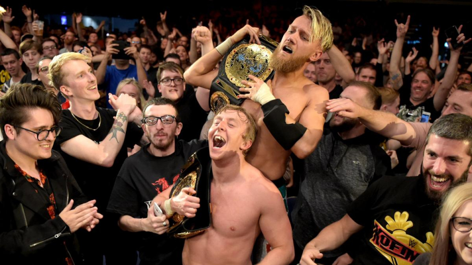 Flash Morgan Webster (front) is a one-time NXT UK Tag Team champion with Mark Andrews