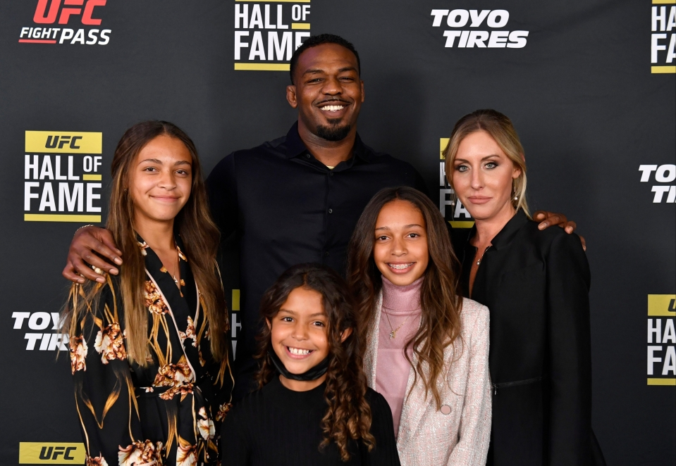 The former UFC light-heavyweight champion poses with his wife and children in Las Vegas