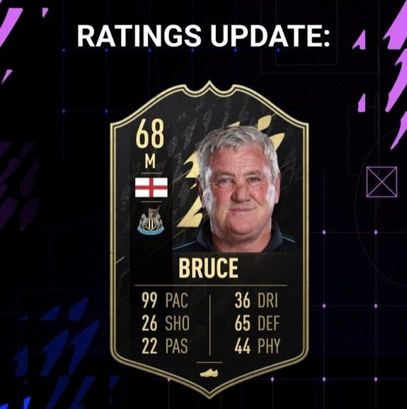Bruce's card is giving him plenty of credit for his fictional pace